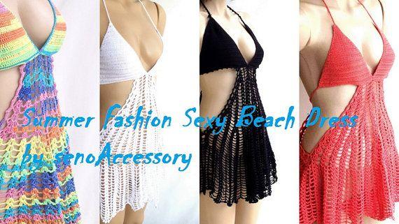Black Crochet Beach Dress Fashion Crochet Cover by
