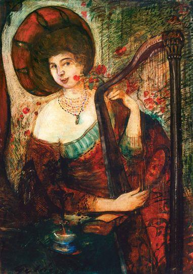 Gulácsy Lajos - Régi instrumentumon játszó hölgy