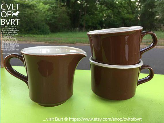 1970's Brown / Beige 3pc Tea Set - Two (2) Tea Cups & One (1) Small Creamer Pitcher - Retro Tea Set, Vintage Tea Set, Vintage Brown Mugs