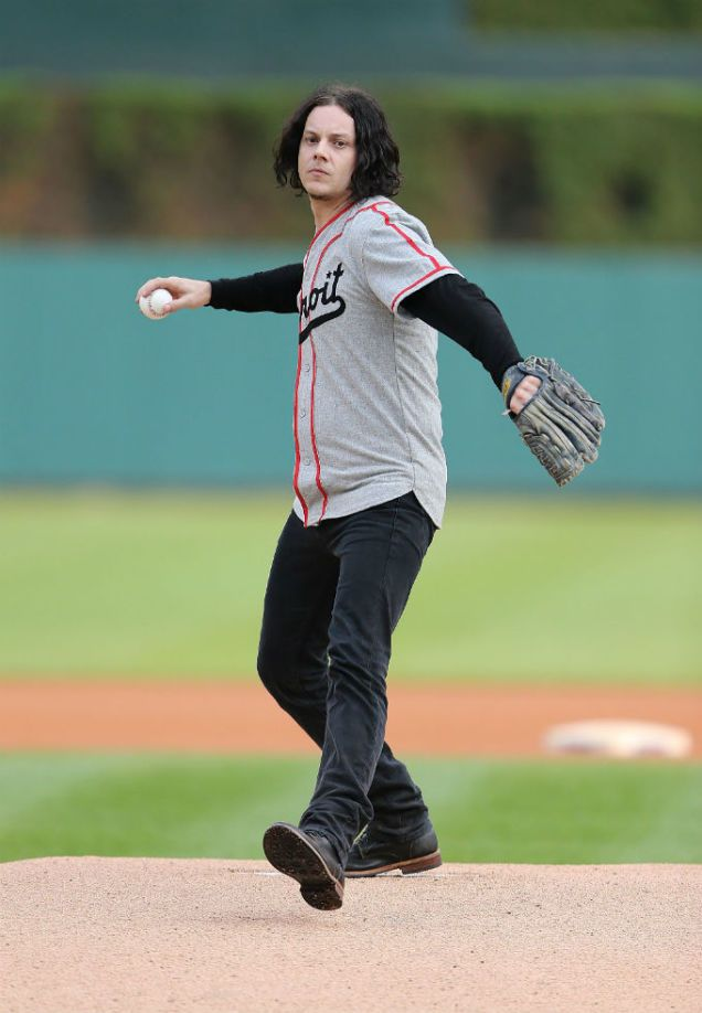 Throwing out the first pitch at a Detroit Tigers game.