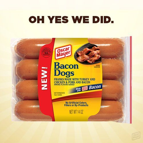 Bacon Dogs Are Here! Thanks, Oscar Mayer | Shine Food - Yahoo! Shine oh my gosh i bet thats like 5,000,000,000 calories