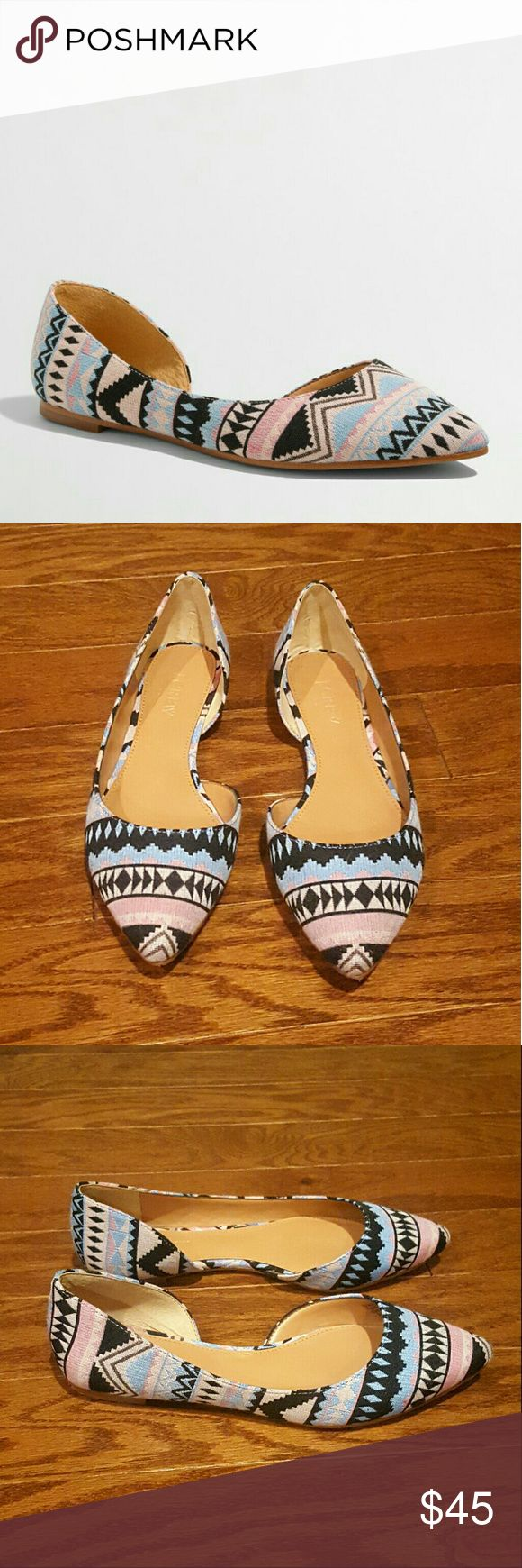 J Crew Factory- d'Orsay Flats in woven Aztec Super cute J Crew flats in size 7.  Great with summer outfits.  Worn out of the house maybe twice.     Fabric upper. Reconstituted leather sole. J. Crew Shoes Flats & Loafers
