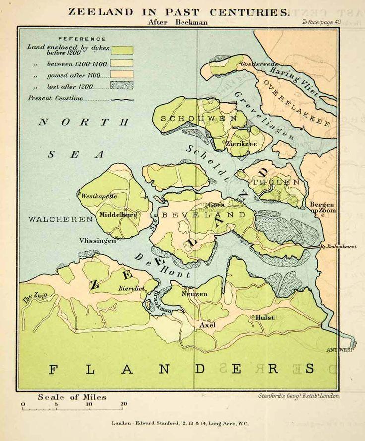 1902 Photolithographed Map Zeeland Netherlands Flanders North Sea Beveland XGUC8 | eBay