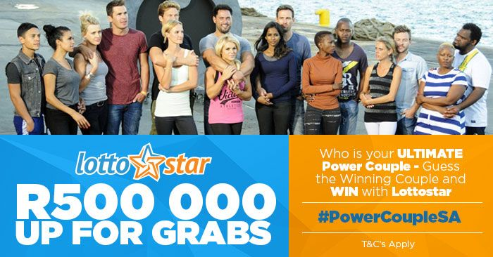 Fancy a R500, 000 prize just for sitting at home and enjoying the show? Now you can get involved and get paid by Lottostar and their exclusive Power Couple SA Viewer's Competition. Simply enter at: https://lottostar.co.za/PowerCoupleCompetition/ and predict who the final, winning couple will be. A correct prediction gets you an exciting R500K at the end of the show. You could also win megamillions from home when playing Lottostar online, and betting for jackpots like R160 million! Play now!