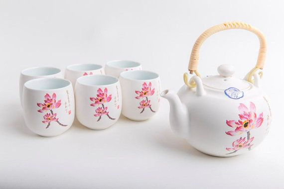 Chinese Tea Set Porcelain Lotus by AsianlivingHome on Etsy