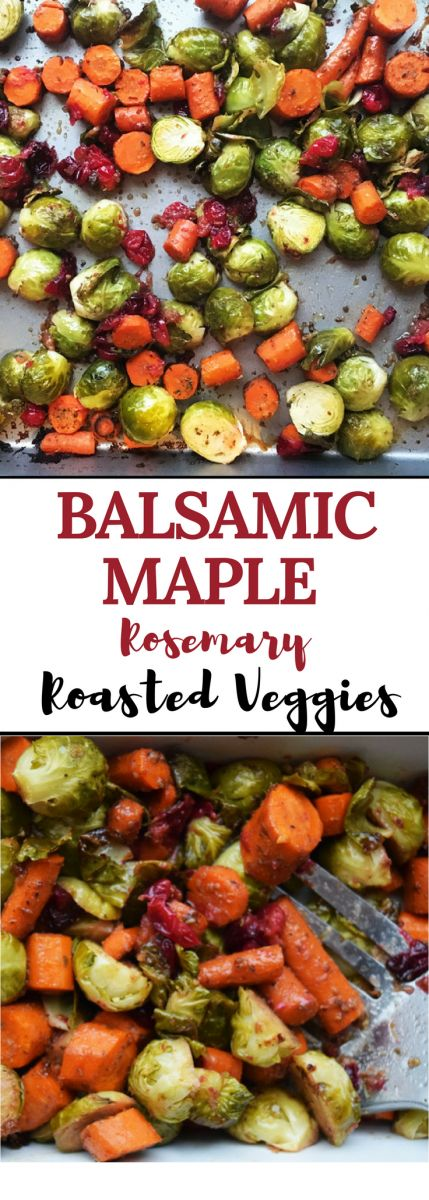 Balsamic Maple Rosemary Roasted Veggies http://bucketlisttummy.com/maple-rosemary-roasted-veggies/ These Balsamic Maple Rosemary Roasted Veggies are full of flavor and come together quickly. Perfect for a weeknight meal addition, or to impress your holiday guests.