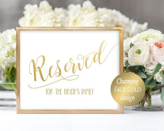 Reserved Sign Template Editable Printable Wedding