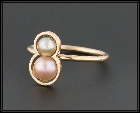 Vintage Pearl Ring White & Pink Pearl Ring by TrademarkAntiques
