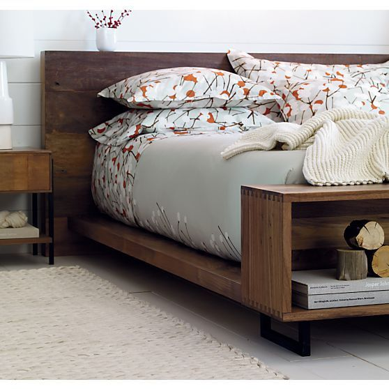The Queen Bed S Footboard Features A Built In Bench For Display And Storage With Precise Dovetail Joinery Atwood Is Crate Barrel