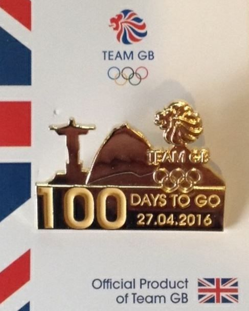 "Rio 2016 #olympics team gb pin #badge ""100 days to go"" #london 2012,  View more on the LINK: 	http://www.zeppy.io/product/gb/2/262625326315/"