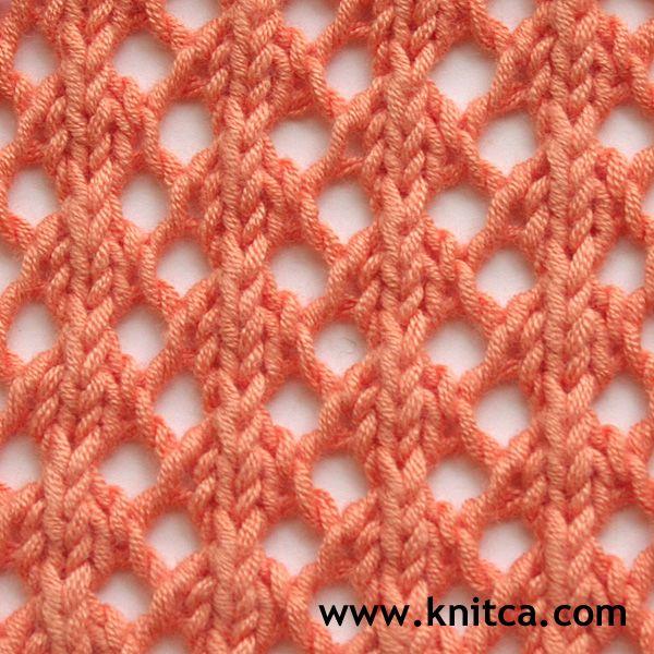 Right side of knitting stitch pattern – Lace 17 : www.knitca.com