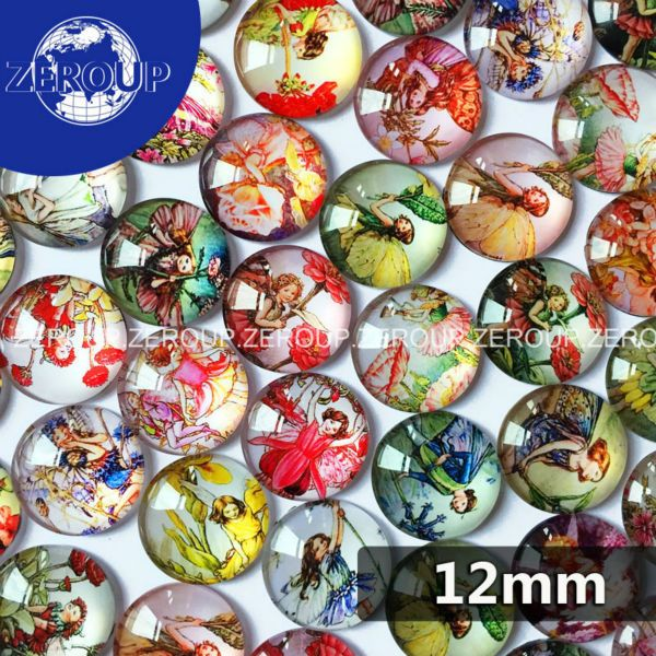 50pcs/lot A Girl With Wings  Pattern round shape Glass Dome Cabochon Fit Cameo Settings Embellishments 12mm
