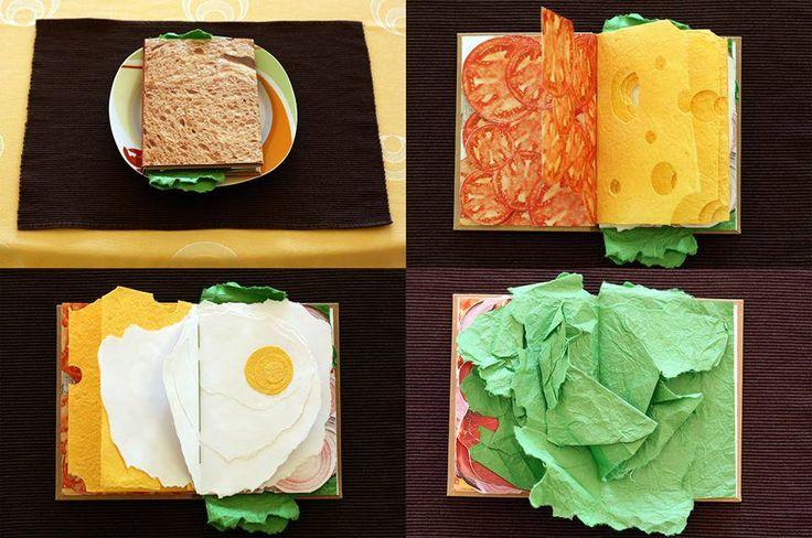 The Sandwich Book Progettato dal graphic designer Pawel Piotrowski, questo libro è dedicato a tutti i golosi che potranno ammirare, pagina dopo pagina, gli appetitosi strati che compongono un sandwich, dall'avvolgente maionese alla morbida foglia d'insalata, al rosso pomodoro.