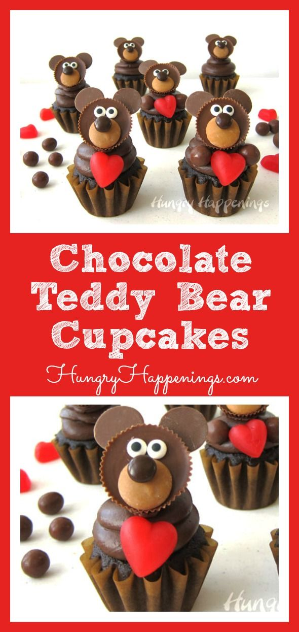 These Chocolate Teddy Bear Cupcakes could not be any cuter. Each one is topped with a peanut butter cup bear and is holding a bright red candy heart. They are perfect for Valentine's Day.