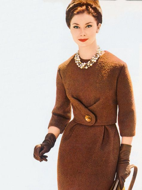60s color photo print ad model magazine brown wool dress winter boucle. Women's vintage dress sewing pattern available for download. Available in various sizes.