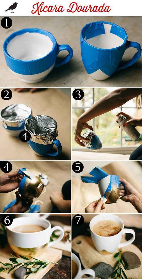Para ainda mais elegância, você também pode fazer esta caneca com toques dourados.