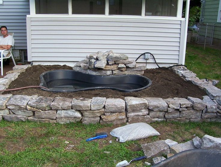 Diy water garden and koi pond gardens waterfalls and for Diy pond liner ideas