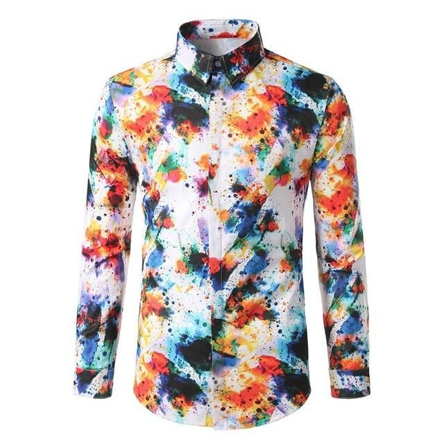 2017 Autumn Fashion Men's Shirt Brand New Stylish Graffiti Print camisa masculina Turn-down Collar Long Sleeve Casual Shirts
