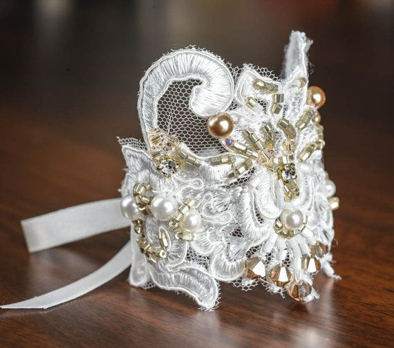 wedding cuff  ivory lace with gold touch by TreGrazie on Etsy