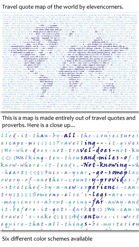Travel quote map of the world print | world map print | housewarming gift | new home gift | traveler print | travel poster by elevencorners on Etsy #elevencorners #travelquotes