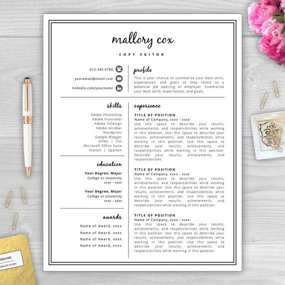 mallory cox is a professional resume template perfect for anyone in need of a resume makeover - Free Artistic Resume Templates