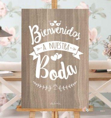 Cartel de Bienvenida en madera y blanco