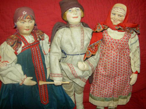 Antique-stockinette-cloth-15-034-beautiful-Russian-Ukraine-doll-excellent-cond