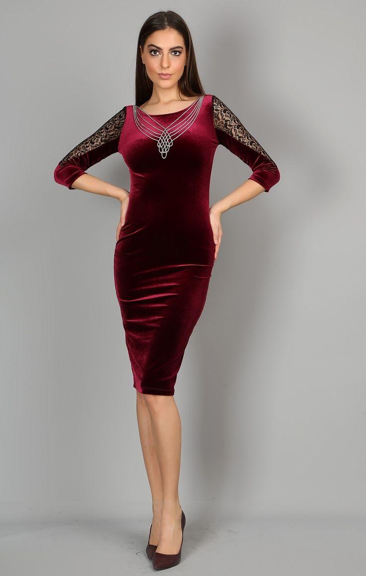 2016 Kadife Elbise Modelleri - http://www.gelinlikvitrini.com/2016-kadife-elbise-modelleri/