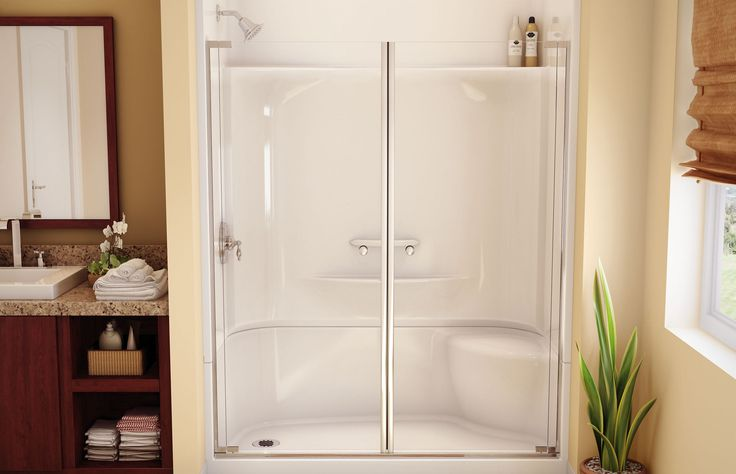 Gorgeous Bathroom With Shower Stall Kits For Modern Home: amusing acrylic shower stall kits with shower bench and shower shelves also glass shower door