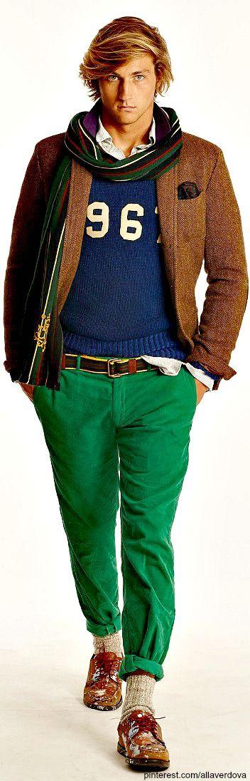 Ralph Lauren ~ FALL 2014 MENSWEAR Polo apple green corduroys