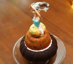 Homemade Barbie Cake 101. I love the plastic wrap to protect her tresses from frosting.