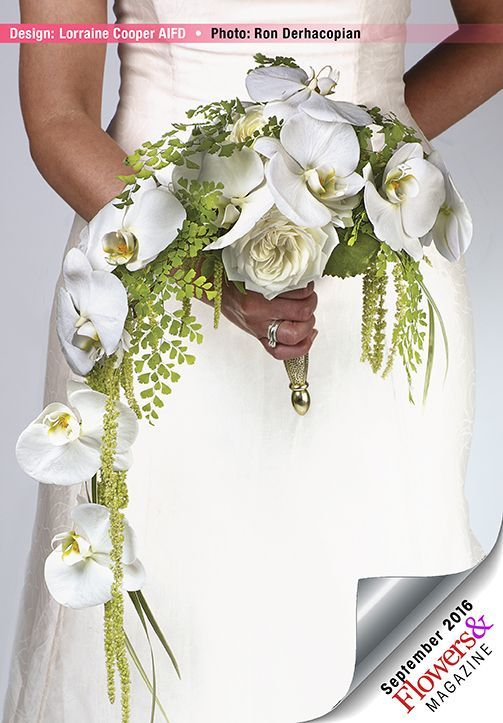 A semi-crescent bouquet follows the sexy silhouette of a trumpet gown. White orchids are combined with hanging amaranthus. Design by Lorraine Cooper AIFD. Design by Ron Derhacopian. #Wedding #bouquets #Flowers&