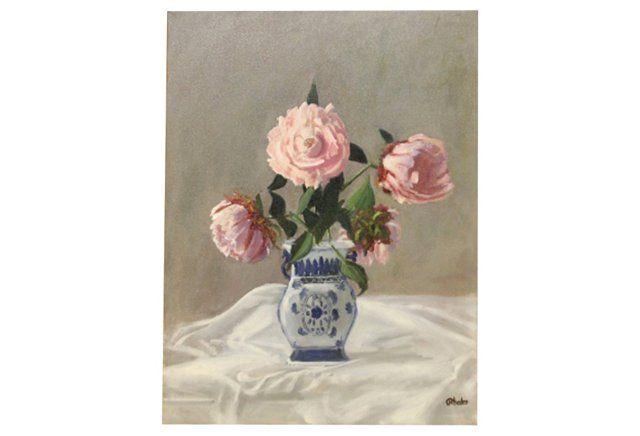 Blue & White Asian Vase w/ Pink Peonies
