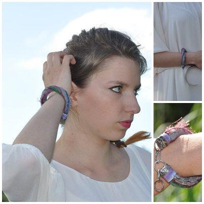 Bracelet wool merino and ceramics felt and ceramics  by zolanna