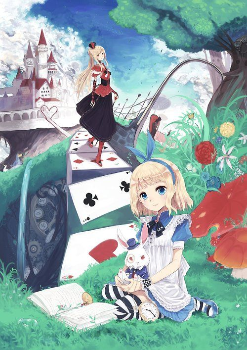 ✮ ANIME ART ✮ Alice in Wonderland. . .Alice. . .Queen of Hearts. . .White Rabbit. . .mushrooms. . .tree. . .castle. . .playing cards. . .fantasy. . .book. . .pocket watch. . .cute. .kawaii