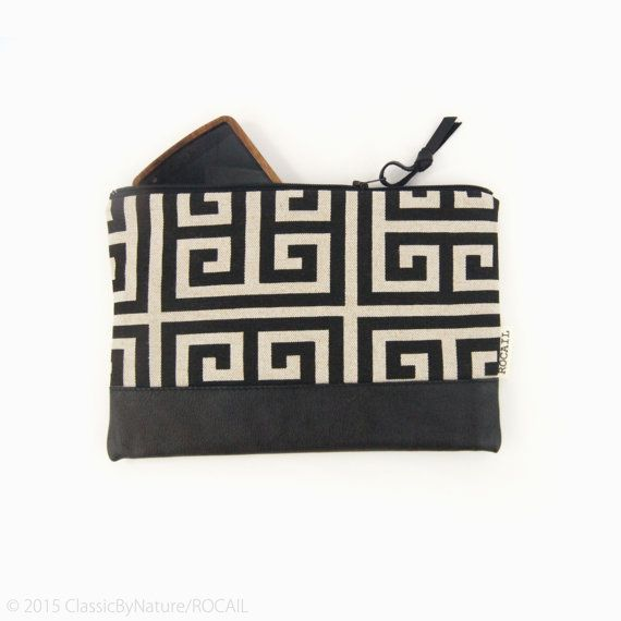 Greek key geometric print and black recycled leather colorblock bag leather pouch by ClassicByNature
