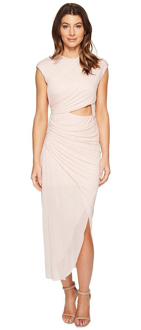 Halston Heritage Short Sleeve Round Neck Draped Jersey Dress w/ Cut Out (Primrose) Women's Dress - Halston Heritage, Short Sleeve Round Neck Draped Jersey Dress w/ Cut Out, EEJ152030-680, Apparel Top Dress, Dress, Top, Apparel, Clothes Clothing, Gift, - Street Fashion And Style Ideas