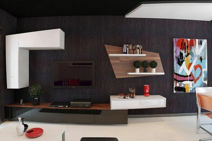 color marrón muy oscuro en la pared del salón moderno