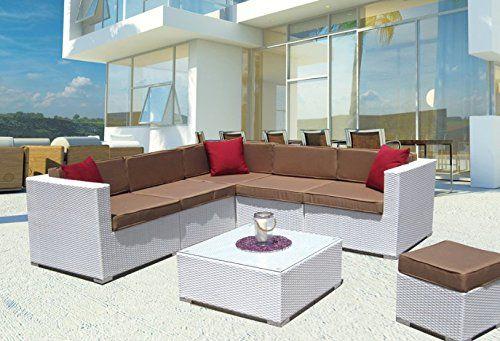 luxurygarden® Rattan Corner Sofa Set For Living Room With, Synthetic, white, outdoor and Garden, Model Kartik---913.39---