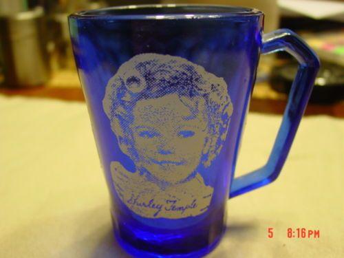 Vintage 1930s Cobalt Blue Shirley Temple Mug Cup