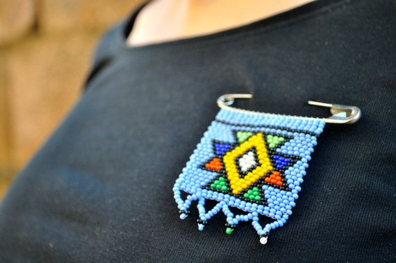 African Statement BadgeBeaded Cornflower Blue by akwaabaAfrica