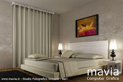 Rendering 3d modello Camera da letto moderna con tende morbide e pavimento in legno