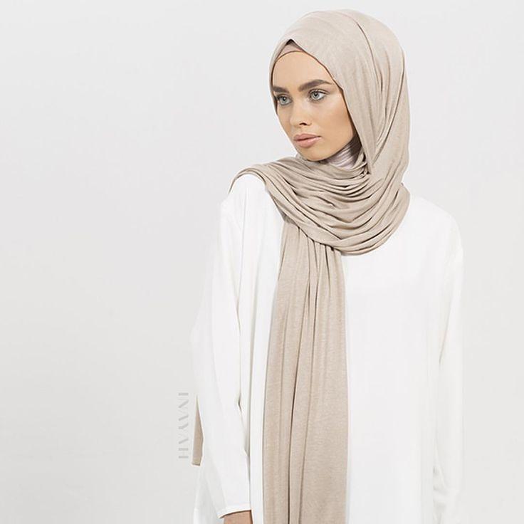 INAYAH | Washed Mink Maxi Jersey #Hijab + Nude Turtle Neck #Hijab Cap