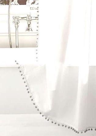 Pom Pom Shower Curtain  color options by ChesapeakeCottage on Etsy