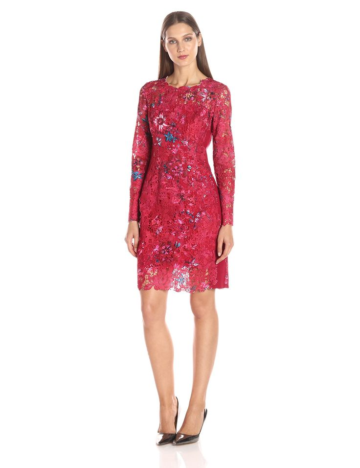 Elie Tahari Women's Starla Dress, Dark Passion Tea, 8. Signature fitted lace dress updated with season's new print. Engineered print for each garment. Stretch side panel and under arm for comfort fit.
