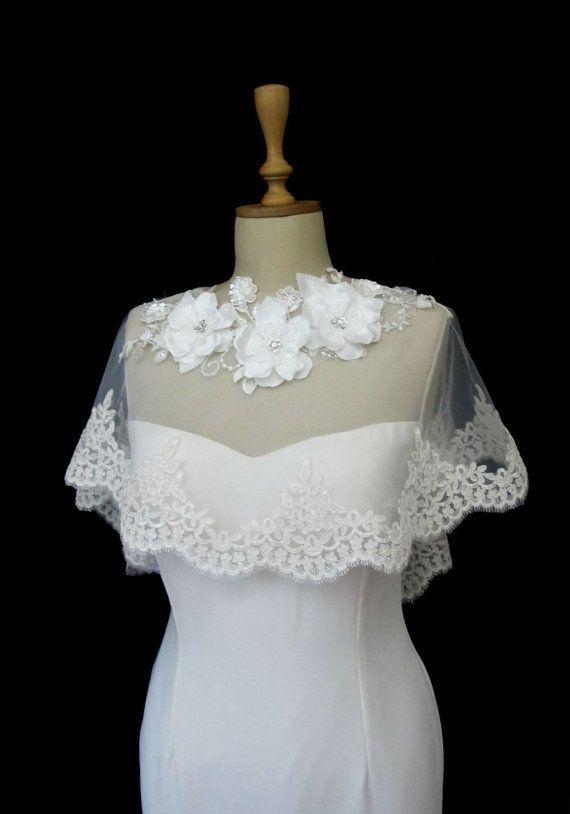 Ivory Lace Bridal Cape Shawl Lace Shrug Wedding Wrap by gebridal, $85.00