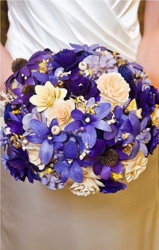 Purple and Yellow Wedding Bouquet | AccentsandPetals - Wedding on ArtFire