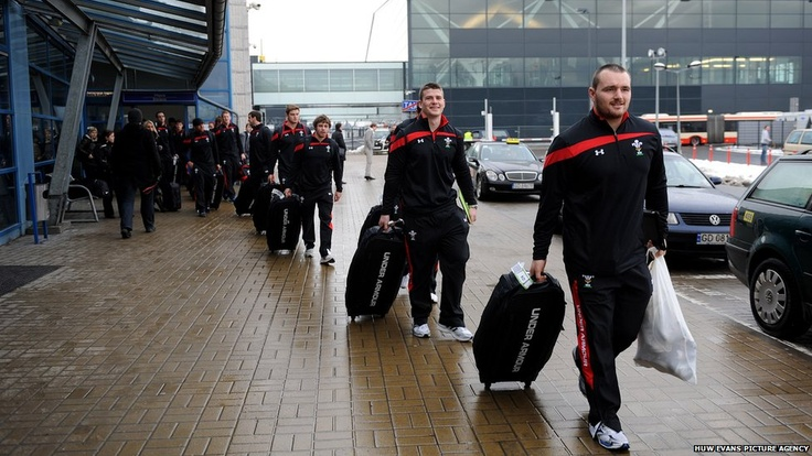 Ken Owens, Scott Williams, Leigh Halfpenny and Rhodri Jones arrive at Gdansk in Poland as Wales embark on their pre-Six Nations training camp
