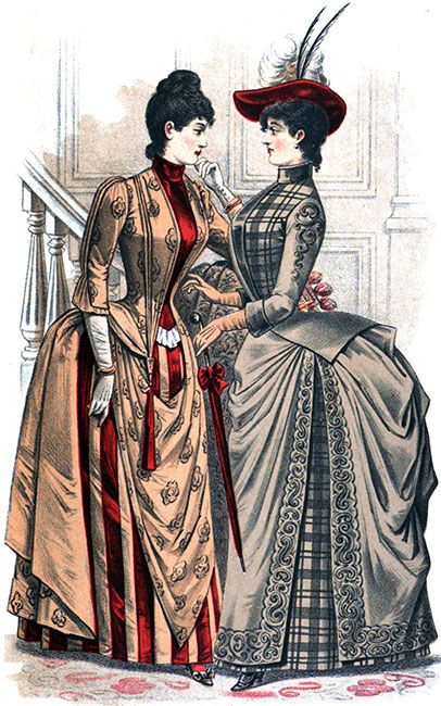 Victorian Bustle Dress. I'm so glad we don't have this silhouette in modern fashion. The article from Victoriana that this comes from is interesting. -LW