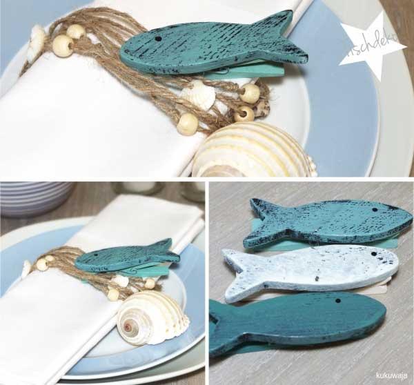 Tischdeko mit Fischklammern und Muschelkordel by kukuwaja  http://de.dawanda.com/shop/kukuwaja-shop